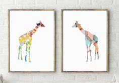 2 Giraffe schilderijen  prints  Dier van Lemonillustrations op Etsy