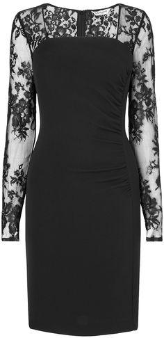 Black lace sleeve dress