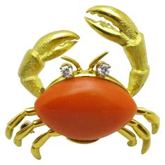 Gold, Diamond and Coral Crab Brooch | From a unique collection of vintage brooches at https://www.1stdibs.com/jewelry/brooches/brooches/