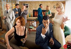"GQ apparently only decided to keep the ""important"" half of Christina Hendricks in this shot from (Thanks Creswell Whitpan!) // Mad Men in GQ: January Jones, Jon Hamm, John Slattery, and Jessica Pare: Movies + TV: GQ Don Draper, Betty Draper, Sally Draper, Jessica Paré, Mad Men Party, Chuck Bass, Gossip Girl, Carrie Bradshaw, Don Meme"