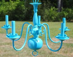 Teal Blue Chandelier Turquoise Lighting Home by FetchingElegance, $120.00