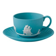Wedgwood Jasper Classic White on Turquoise Teacup  Saucer#Repin By:Pinterest++ for iPad#