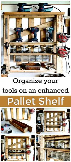 DIY Enhanced Pallet Shelf Tool Rack Tutorial - 150 Best DIY Pallet Projects and Pallet Furniture Crafts - Page 10 of 75 - DIY & Crafts