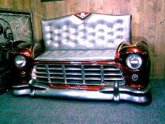 56 Chevy truck couch -ℛℰ℘i ℕnℰD by Averson Automotive Group LLC Car Part Furniture, Automotive Furniture, Automotive Decor, Unique Furniture, Loft Furniture, Automotive Group, Handmade Furniture, Automotive Industry, Furniture Design
