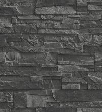 Papel pintado rústico piedra de pizarra negro - 1006400 …