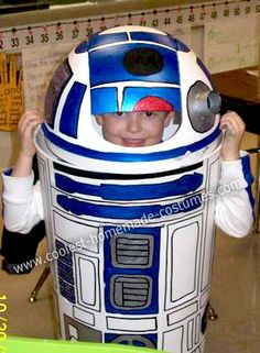 Homemade R2D2 Star Wars Costume: Over the summer, I asked my 7 year old son what he wanted to be for Halloween.   After seeing Star Wars for the first time, he recently became a huge Star