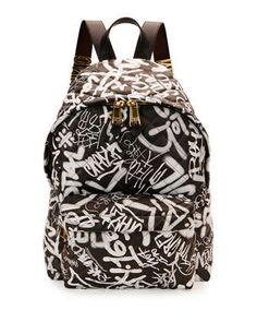 Graffiti Quilted Leather Backpack, Black Multi by Moschino at Neiman Marcus. Black Leather Backpack, Leather Shoulder Bag, Neiman Marcus, Skateboard Backpack, Graffiti, Moschino Bag, Backpack Straps, Quilted Leather, Back Strap