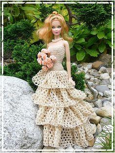 #barbie #crochet #wedding #dresses barbie-hanneton 46..1..5 qw