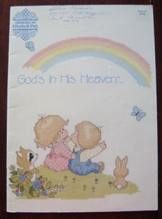 "Vintage Cross-Stitch Designs by ""Gloria & Pat"", God's in His Heaven/ Cross Stitch Patterns/ Bible Verses/Counted Cross Stitch by RedWickerBasket on Etsy"