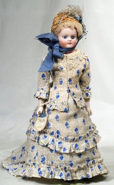 """GERMAN BISQUE CLOSED-MOUTH LADY DOLL. Marks: 7 15 """". : Lot 175"""
