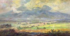 Ernest Dezentjé - Pemandangan Sawah dan Gunung