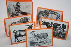 Set of 6 Vintage Animal Mini Cards - Small Card - Orange - Thank You - Gift Enclosure - Gift Tag - Birthday