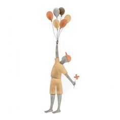 Metal Wall Ornament 3D - Boy with Balloons