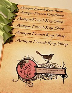 Antique French Key Shop Gift Tags Vintage by wildabouttags on Etsy, $4.20