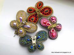 ArtBeadwork: Pink Butterfly - Zipper brooch