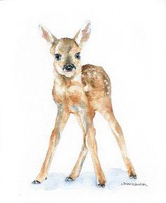 Deer Fawn Watercolor Painting Giclee Print 8x10 Nursery Art