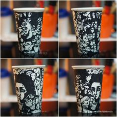 hand-drawn illustration on paper cup.