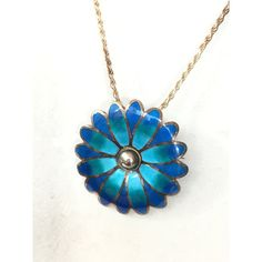 Vintage Sterling Silver Enamel Necklace Mexican Taxco Blue Enameled... ($129) ❤ liked on Polyvore featuring jewelry and brooches