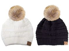 ScarvesMe CC Solid Ribbed Beanie with Fur PomPom 2 PACK BKIV ** Find out more about the great product at the image link.