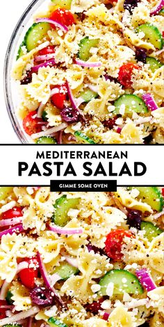 This Mediterranean Pasta Salad recipe is easy to make and tossed with a yummy lemon-herb vinaigrette. Easy Pasta Salad Recipe, Best Pasta Salad, Greek Salad Pasta, Summer Pasta Salad, Healthy Salad Recipes, Summer Salads, Soup And Salad, Pasta Recipes, Vegetarian Recipes