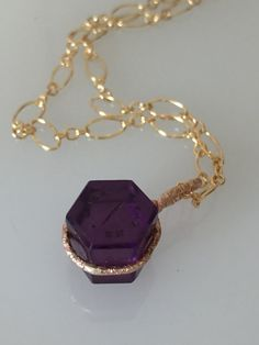Conversion Antique Purple Wax Seal Fob Pendant on Gold Filled Chain Necklace    #CELESTEANDCOGEMS by CelesteandCoGems on Etsy