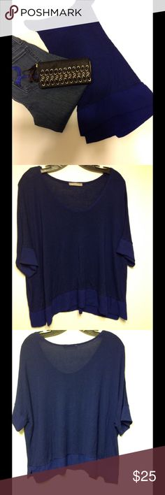 Zara Cobalt Blue Top Short Sleeve, Comfortable, Cotton, Rayon Detail on Sleeves & Bottom Trim Zara Tops Blouses