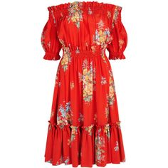 Alexander McQueen Red Floral-print Off-the-shoulder Silk Dress - Size 6 ❤ liked on Polyvore (see more floral dresses)