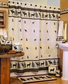 Woodlands Fabric Bathroom Shower Curtain Deer Moose Lodge Cabin Rustic Design | eBay