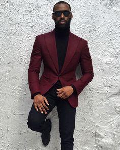 Customize Men Suits For Wedding Business Suit Blazer Peak Lapel Costume Homme Party Suits Mens Fashion Suits, Mens Suits, Black Men In Suits, Black Man, Costume Bordeaux, Stylish Men, Men Casual, Casual Outfits, Chic Outfits