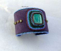Beaded Cuff Bracelet With Amozonite Cabochon