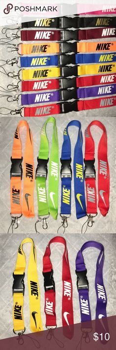 "NIKE Breakaway Lanyard / Keychain NeW SPECIAL: BUNDLE ANY 3 LANYARDS FROM ANY LISTING FOR $15  Use for your phone, camera, Work/School ID cards, keys, etc. ~Loop for Cell Phone & USB Flash Drive ~Breakaway Keychain ~Overall length is 21"" Long x 1"" Wide ~ Nice Quality Material ~Durable Nylon/Polyester Blend Boutique Accessories Key & Card Holders"
