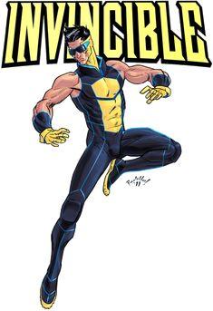Invincible Redesign by Scadilla on DeviantArt Marvel Rpg, Marvel Comics Art, Marvel Heroes, Character Model Sheet, Character Modeling, Character Design, Superhero Characters, Dc Characters, Invincible Comic