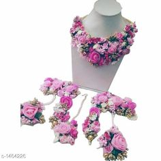 Jewellery Set Floral Designed Necklace Set Material: Gota Size: Free Size Description: It Has 1 Piece Of   Necklace 1 Pair Of Earring & 1 Piece Of Maang Tika   2 Piece Of Ring Bracelets Work: Floral & Beads Work Country of Origin: India Sizes Available: Free Size   Catalog Rating: ★4.2 (485)  Catalog Name: Diva Floral Designed Necklace Sets Vol 2 CatalogID_189999 C77-SC1093 Code: 516-1464226-2661