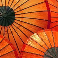 Orange umbrellas by Caught my eye