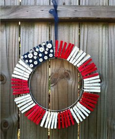 American Flag Wreath - metal rings, buttons, paint, and clothes pins Patriotic Crafts, July Crafts, Holiday Crafts, Diy And Crafts, Kid Crafts, Fourth Of July, 4th Of July Wreath, American Flag Wreath, Clothes Pin Wreath