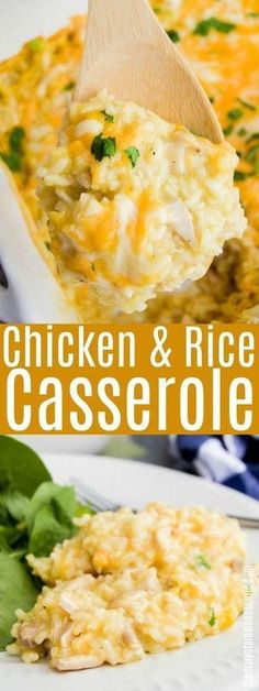 Pin this one!! You will wanna remember it, Chicken and Rice Casserole. Easy dinner recipes that your family will love.
