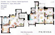 floor plans from TV shows! (this is the plan from the Chandler/Joey and Monica/Rachel apartments in FRIENDS) Friends Tv Show, Tv: Friends, Serie Friends, Friends Moments, Friends Image, Rachel Friends, Friends Forever, Friends Episodes, Funny Friends