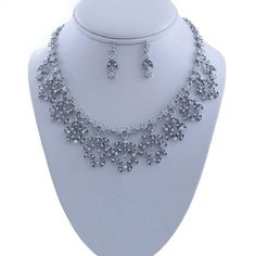 Crystal Vine Necklace Earring Set #AID0321-Silver