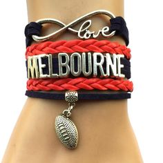 Infinity Love Melbourne Demons Football Bracelet BOGO Football Bracelet, Bangle Bracelets, Bangles, Australian Football, Infinity Love, Football Team, Melbourne, Demons, City College