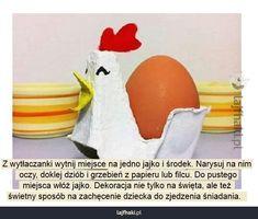 Kurka z wytłaczanki - Z wytłaczanki wytnij miejsce na jedno jajko i środek. Narysuj na nim  oczy, doklej dziób i grzebień z papieru lub filcu. Do pustego  miejsca włóż jajko. Dekoracja nie tylko na święta, ale też  świetny sposób na zachęcenie dziecka do zjedzenia śniadania.