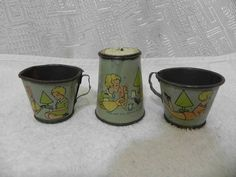 Antique Ohio Art Tin Litho Toy Tea Cup Children Playing with Toys