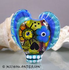 Behind the clouds we party Lampwork Glass bead by michoudesign