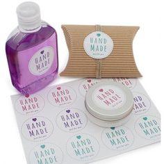 Pegatinas para Envases y Packaging. Redonda Hand Made Blanca Grande.