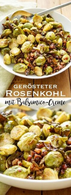 Im Ofen gerösteter Rosenkohl mit Balsamico-Creme und Schweinebauch – Roasted Brussels sprouts with balsamic cream and pork belly in the oven # Toasted the Roast Recipes, Quick Recipes, Easy Healthy Recipes, Quick Easy Meals, Vegetarian Recipes, Dinner Recipes, Roasted Sprouts, Baked Vegetables, Smoked Pork