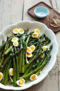 // charred asparagus and quail eggs