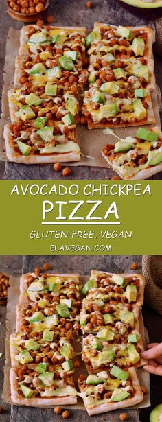 #Avocado #chickpea #pizza with #vegan #cheese ! This pizza is #glutenfree, plant-based, contains healthy protein, fat, and carbs. Easy recipe which is perfect for lunch or dinner, especially on weekends.