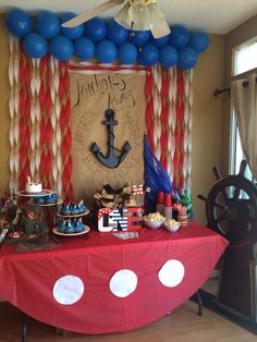 29 ideas for baby boy birthday party ideas backdrops Sailor Birthday, Baby Boy 1st Birthday Party, Birthday Sweets, Anchor Birthday, Baby Shower Cakes For Boys, Baby Boy Shower, Anchor Baby Showers, Pirate Baby, Nautical Party