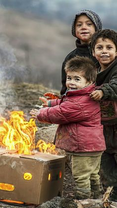 the joy of warmth....beautiful children