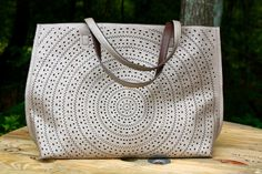 Beautiful Reversible Tote | Pewter with laser cut design + solid Brown Laser Cutting, Pewter, Purses And Bags, Tote Bag, Brown, Heaven, Design, Beautiful, Tin