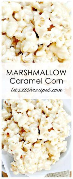 Marshmallow Caramel Corn Recipe: This marshmallow coated popcorn is the perfect sweet treat for movie night, or just for fun! Marshmallow Caramel Corn Recipe: This marshmallow coated popcorn is the perfect sweet treat for movie night, or just for fun! Caramel Corn Recipes, Candy Recipes, Holiday Recipes, Snack Recipes, Caramel Puff Corn, Popcorn Flavor Recipes, Carmel Corn, Dog Recipes, Holiday Treats